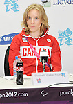 LONDON, ENGLAND 08/28/2012:  Elisabeth Walker-Young speaks at Team Canada Preview press conference before the London 2012 Paralympic Games at the Main Press Centre. (Photo by Matthew Murnaghan/Canadian Paralympic Committee)