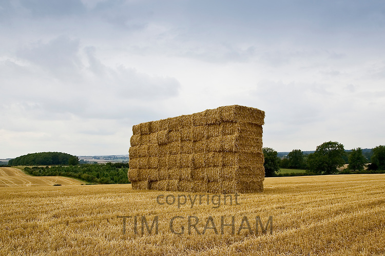 Strawbales stacked, Cotswolds, United Kingdom