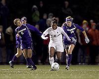 "Boston College forward Natalie Crutchfield (9) accelerates as University of Washington forward McKenna Waitley (14) pursues. In overtime, Boston College defeated University of Washington, 1-0, in NCAA tournament ""Elite 8"" match at Newton Soccer Field, Newton, MA, on November 27, 2010."
