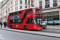 Routemaster bus, manufactured in N Ireland, in Oxford Street, London, UK, 17th March 2017, 201703173354<br />