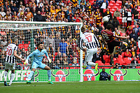 Rory McArdle of Bradford City heads the ball just over the Millwall goal during Bradford City vs Millwall, Sky Bet EFL League 1 Play-Off Final at Wembley Stadium on 20th May 2017