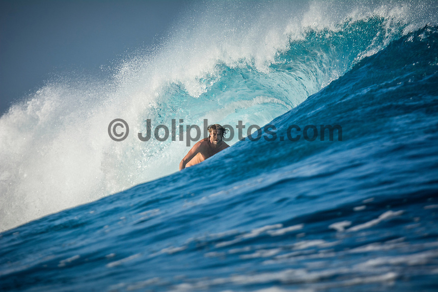Namotu Island Resort, Fiji. Sunday February 8 2015) Andrew Danes (AUS) surfing Cloudbreak. - The surf  this morning was in the 4'- 6' range. Cloudbreak was the pick spot but Restaurants was also breaking in the 3' range.  Photo: joliphotos.com