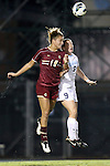04 October 2012: Boston College's Kristen Mewis (19) and UNC's Kat Nigro (9). The University of North Carolina Tar Heels defeated the Boston College Eagles 1-0 at Fetzer Field in Chapel Hill, North Carolina in a 2012 NCAA Division I Women's Soccer game.