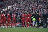 Liverpool's Philippe Coutinho celebrates scoring the opening goal <br /> <br /> Photographer Terry Donnelly/CameraSport<br /> <br /> The Premier League - Liverpool v Crystal Palace - Sunday 23rd April 2017 - Anfield - Liverpool<br /> <br /> World Copyright &copy; 2017 CameraSport. All rights reserved. 43 Linden Ave. Countesthorpe. Leicester. England. LE8 5PG - Tel: +44 (0) 116 277 4147 - admin@camerasport.com - www.camerasport.com