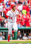 3 April 2017: Washington Nationals outfielder Bryce Harper watches the trajectory of his solo home run as it clears the right field fence in the 6th inning on Opening Day against the Miami Marlins at Nationals Park in Washington, DC. Harper's homer was his 5th consecutive Opening Day home run since starting his career in Washington as the  Nationals went on to defeat the Marlins 4-2 to open the 2017 MLB Season. Mandatory Credit: Ed Wolfstein Photo *** RAW (NEF) Image File Available ***