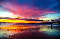 Santa Monica beach at sunset on Friday, January 31, 2014.