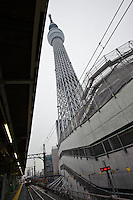 View of Tokyo Sky Tree from Narihirabashi station, Tokyo, Japan, October 30, 2011. Scheduled to open to the public 22 March 2011, the Tokyo Sky Tree broadcasting tower is the tallest freestanding tower in the world at 634m high. On the 30 October 2011 the tower's 350m high viewing platform was opened to members of the media.