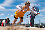 Vallivue freshman Brooklyn Daylong follows through during the YMCA Track and Field Invite long jump event on April 28, 2012 at Rocky Mountain High School, Meridian, Idaho.Daylong finished fourth with a jump of 16-01.75.