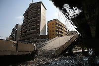 Beirut, Lebanon, Aug 3 2006.Dahie neighbourhood. Israeli air force bombardments caused heavy damage on civilian infrastructure, but very little to prevent Hezbollah to control large areas of West Beirut.