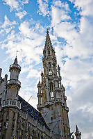 The Town Hall in Brussels, Belgium, a gothic masterpiece from the middle ages, is located in the Grand Place in the city centre.