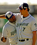 12 July 2007: Vermont Lake Monsters outfielder Ryan Delaughter (7) fools around with catcher Agustin German (32) prior to a game against the Mahoning Valley Scrappers at Historic Centennial Field in Burlington, Vermont. The Scrappers defeated the Lake Monsters 11-2 in the first game of their NY Penn-League double-header...Mandatory Photo Credit: Ed Wolfstein Photo