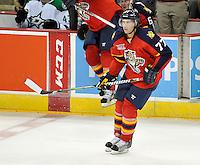 Florida Panthers' Tom Gilbert skates during the third period of an NHL preseason hockey game against the Dallas Stars, Friday, Sept. 20, 2013, in San Antonio, Texas. Dallas won 4-1. (Darren Abate/DA Media)