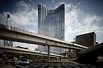 Tokyo, April 29 2011 - The Akasaka Prince Hotel, built in 1982 by the architect Kenzo Tange, was supposed to be demolished in March 2011 after having received politician and industrial elites, nuclear included, during the bubble.  It is finally used as a shelter for nuclear refugees from Fukushima during two months, until June 2011. But a lot of refugees prefered to look for another sustainable housing.