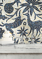 Otomi, a hand-cut jewel glass mosaic, shown in Agate and Marcasite, is part of the Kiddo Collection by Cean Irminger for New Ravenna.