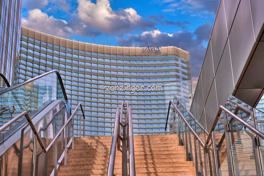 Aria Hotel Resort & Casino,  City Center, Las Vegas Nevada, hotel tower, casino, convention center, and luxury condominium units, Hospitality, No People, Travel, Destination, View,
