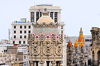 Spain, Barcelona. Casa Batlló is one of Antoni Gaudí's masterpieces. View from the roof