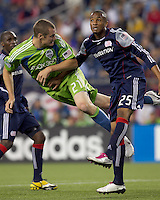 Seattle Sounders FC forward Nate Jaqua (21) attempts to head a cross on net. The New England Revolution defeated the Seattle Sounders FC, 3-1, at Gillette Stadium on September 4, 2010.