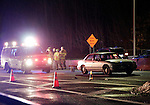 Naugatuck, CT- 22 December 2016-122216CM05-  Part of the southbound lane on Rt 8 is shut down in Naugatuck on Thursday night.  It was reported that a pedestrian was stuck by a vehicle near Exit 27, the Maple Street exit.    Christopher Massa Republican-American