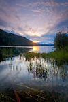 Idaho, North, Coeur d'Alene. Sunset over Wolf Lodge Bay, Lake Coeur d'Alene.