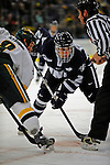 1 February 2008: University of New Hampshire Wildcats' forward Mike Radja, a Senior from Yorkville, IL, faces off against University of Vermont Catamounts' forward Dean Strong, a Junior from Mississauga, Ontario, at Gutterson Fieldhouse in Burlington, Vermont. The seventh-ranked Wildcats defeated the Catamounts 5-1in front of a sellout crowd of 4,003...Mandatory Photo Credit: Ed Wolfstein Photo