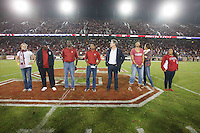 STANFORD, CA-- October 5, 2013: Eight new members of Stanford University Athletic Hall of Fame were introduced at halftime of Stanford's football game against Washington Saturday evening.<br /> Those inducted are Lauren Fleshman &rsquo;03 (women&rsquo;s track &amp; field), Jeffrey Hammonds &rsquo;92 (baseball), Keith Jones &rsquo;84 (men&rsquo;s basketball), Glyn Milburn &rsquo;92 (football), Anthony Mosse &rsquo;88 (men&rsquo;s swimming), Olympia Scott &rsquo;98 (women&rsquo;s basketball), Logan Tom &rsquo;03 (women&rsquo;s volleyball) and Brenda Villa &rsquo;03 (women&rsquo;s water polo).<br /> during the Stanford vs Washington game Saturday night at Stanford Stadium.<br /> <br /> Stanford won 31-28.