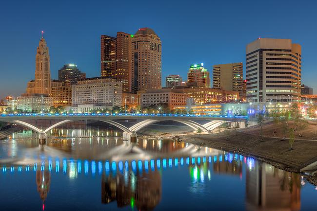 The sky lightens over the skyline during morning twilight in Columbus, Ohio.
