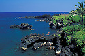 Wainapanapa State Park with snorkelers in cove along lava rock coastline; Hana, Maui, Hawaii.