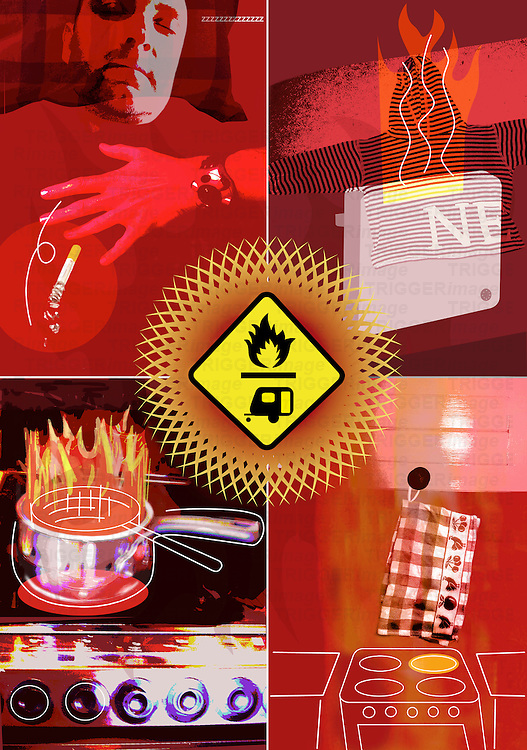 Conceptual illustration of the risk of fire in the home, wahing, cooking, drying, smoking