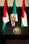 Palestinian President Mahmoud Abbas speaks during a joint news conference with Italy's President Sergio Mattarella in the West Bank city of Bethlehem November 1, 2016. Photo by Wisam Hashlamoun