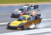 May 15, 2016; Commerce, GA, USA; NHRA funny car driver Del Worsham (near) races alongside Tim Wilkerson during the Southern Nationals at Atlanta Dragway. Mandatory Credit: Mark J. Rebilas-USA TODAY Sports