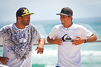 Burleigh Heads, Queensland, Australia (Tuesday February 15th 2011). Jay Bottle Thompson (AUS), Jeremy Flores (FRA), Sunny Garcia (HAW),  local surfer Thomas Wood (AUS) and Peter Harris (AUS) former winner of the Stubbies event were all in attendance for the 4-Star, US$85,000 Breaka Burleigh Pro press conference today.  The 2011 Breaka Burleigh Pro marks the beginning of ASP Australasia's Prime and Star rated tour series. The event commences on February 16 and concludes February 20, 2011. Photo: joliphotos.com
