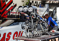 Sep 18, 2016; Concord, NC, USA; Detailed view of the engine for the dragster of NHRA top fuel driver Richie Crampton during the Carolina Nationals at zMax Dragway. Mandatory Credit: Mark J. Rebilas-USA TODAY Sports