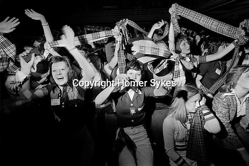 Bay City Rollers pop group girl teen fans screaming Newcastle UK 1970s.