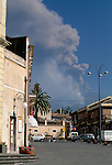 Mt. Etna eruption as seen from town of Nicolosi, Sicily, Italy