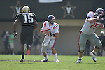 Ole Miss' Zack Stoudt (8) passes in Nashville, Tenn. on Saturday, September 17, 2011. Vanderbilt won 30-7..