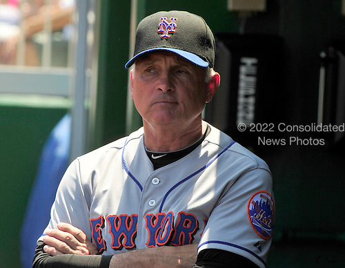 New York Mets manager Terry Collins (10) paces in the dugout prior to the game against the Washington Nationals at Nationals Park in Washington, D.C. on Sunday, July 31, 2011.  .Credit: Ron Sachs / CNP.(RESTRICTION: NO New York or New Jersey Newspapers or newspapers within a 75 mile radius of New York City)