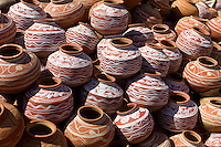 Clay water pots on sale in old town Udaipur, Rajasthan, Western India,