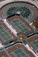 Aerial of Vic Braden's Tennis College, Coto de Caza, CA, 1975. Features 18 circular teaching lanes designed by Braden. Photo by John G. Zimerman.