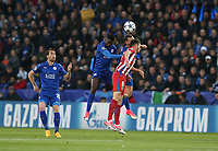 Atletico Madrid's Saul Niguez battles with Leicester City's Wilfred Ndidi (left) and Daniel Drinkwater<br /> <br /> Photographer Stephen White/CameraSport<br /> <br /> UEFA Champions League Quarter Final Second Leg - Leicester City v Atletico Madrid - Tuesday 18th April 2017 - King Power Stadium - Leicester <br />  <br /> World Copyright &copy; 2017 CameraSport. All rights reserved. 43 Linden Ave. Countesthorpe. Leicester. England. LE8 5PG - Tel: +44 (0) 116 277 4147 - admin@camerasport.com - www.camerasport.com