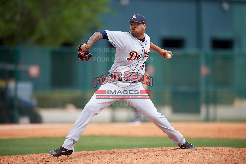Detroit Tigers pitcher Jairo Labourt (63) during a minor league Spring Training game against the Atlanta Braves on March 25, 2017 at ESPN Wide World of Sports Complex in Orlando, Florida.  (Mike Janes/Four Seam Images)