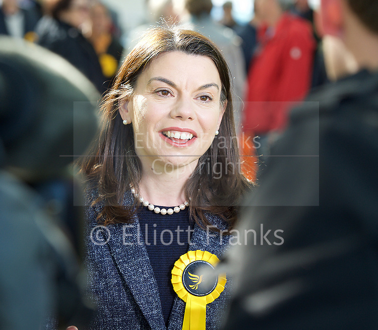 Tim Farron, leader of the Liberal Democrats &lsquo;parking Liberal Democrat tanks on the Conservative lawn&rsquo; first rally of the 2017 General Election campaign. <br /> <br /> <br /> Sarah Olney MP  in Richmond Park<br /> 19th April 2017 <br /> Richmond, Surrey, Great Britain <br /> <br />  <br /> <br /> Photograph by Elliott Franks <br /> Image licensed to Elliott Franks Photography Services