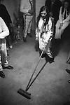 Biddy Boys Killorglin Co Kerry Eire Southern Ireland. 1972. February 2nd celebration of the Celtic Saint Brigid. Broom dance.