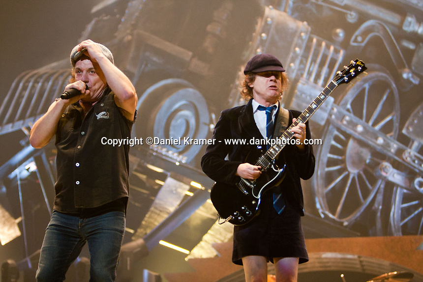 Angus Young performs with AC/DC in support of the Black Ice Tour at the Toyota Center in Houston, TX, 2008.