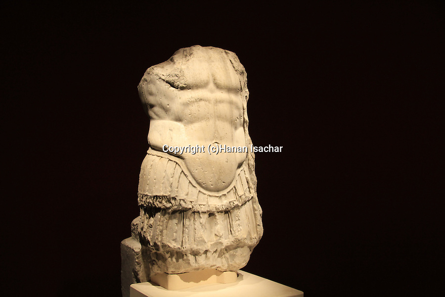 A muscle cuirassed statue frome the Temple of Augustus in Sebastia, on display at the Israel Museum