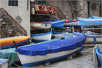 In the Riomaggiore harbor in the Cinque Terre, locals pull their boats up at night in the spring when the waves are high. Many of these boats are used to fish with, or supply tourists with the opportunity to get out in the Mediterranean and enjoy the ocean for themselves.