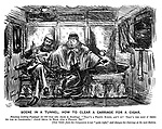 "Scene in a Tunnel. How to clear a carriage for a cigar. Ferocious looking passenger (to old gent who objects to smoking). ""That's a pretty knife; ain't it? That's the sort o' thing we use in California! Jolly thing to stick into a fellow, eh?"" [Old gent fears his companion is not ""quite right,"" and changes his carriage at the next station."