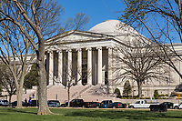 A view of the Neo-classical west building of the National Gallery of Art on the National Mall in Washington, DC.