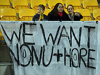 Ma'a Nonu and Andrew Hore fans with a supporting banner. Super 15 rugby match - Crusaders v Hurricanes at Westpac Stadium, Wellington, New Zealand on Saturday, 18 June 2011. Photo: Dave Lintott / lintottphoto.co.nz