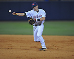 Ole Miss' Alex Yarbrough (2) throws to first for an out at Oxford-University Stadium in Oxford, Miss. on Friday, April 15, 2011. Ole Miss won 3-2.