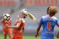 Houston, TX - Saturday April 15, 2017: Denise O'Sullivan attempts to gain control of a loose ball during a regular season National Women's Soccer League (NWSL) match won by the Houston Dash 2-0 over the Chicago Red Stars at BBVA Compass Stadium.